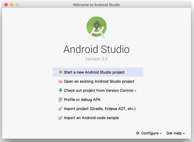 Màn hình Welcome của Android Studio