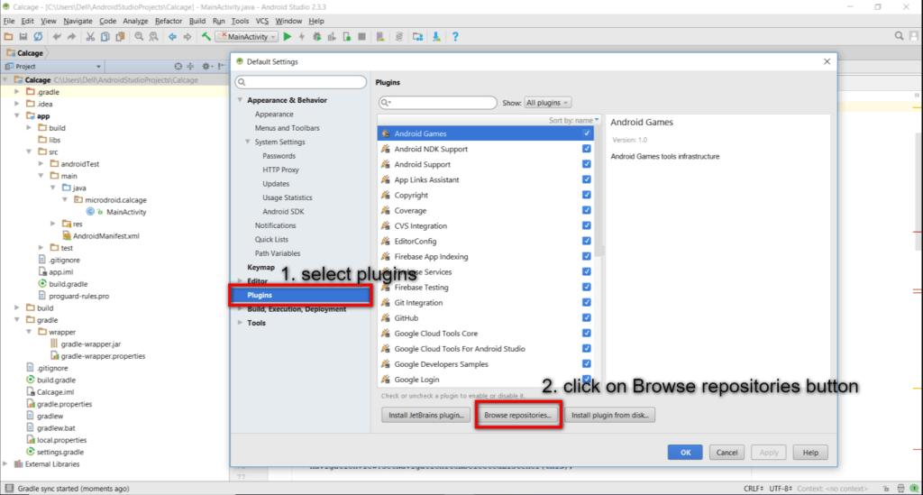Một cửa sổ mới được mở ra tên là Default Settings -> tab Plugins ->Click nút Browse repositories
