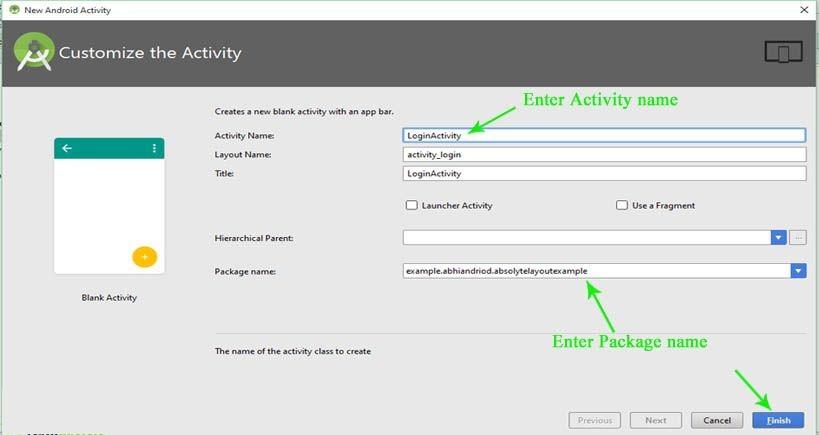 Cấu hình Activity trong Android Studio