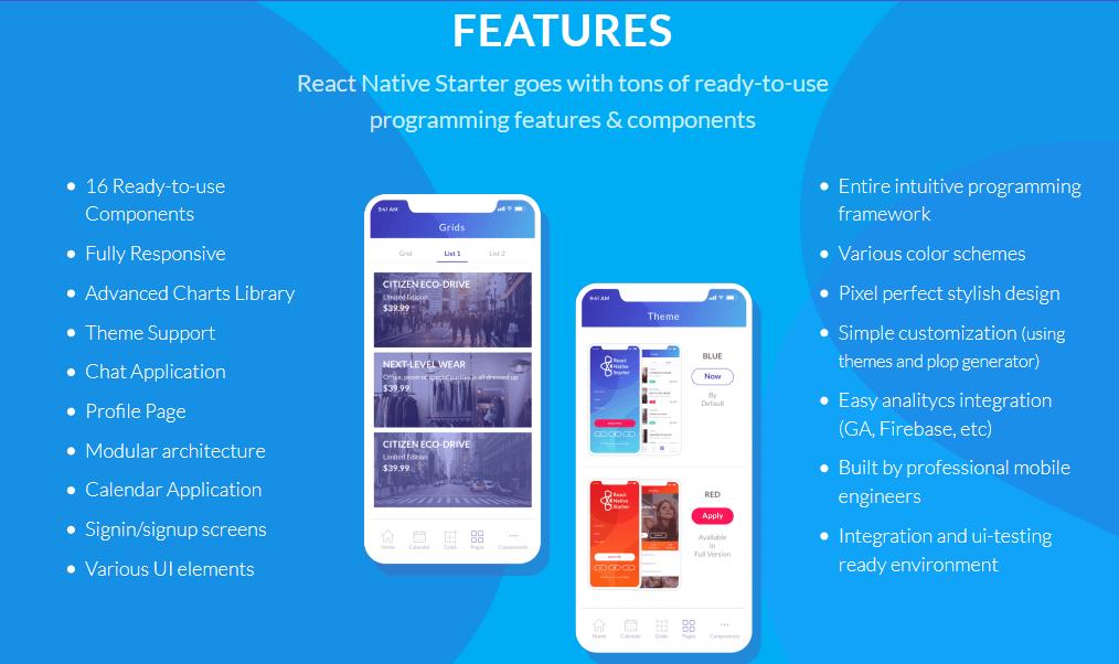 React native Starter Kit có rất nhiều template và component đẹp