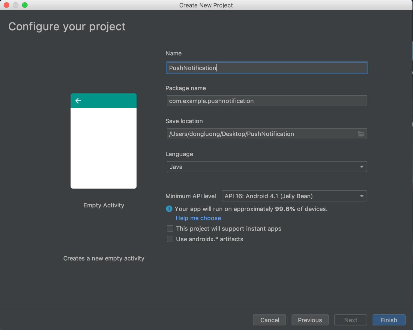 Tạo ứng dụng demo với Android Studio