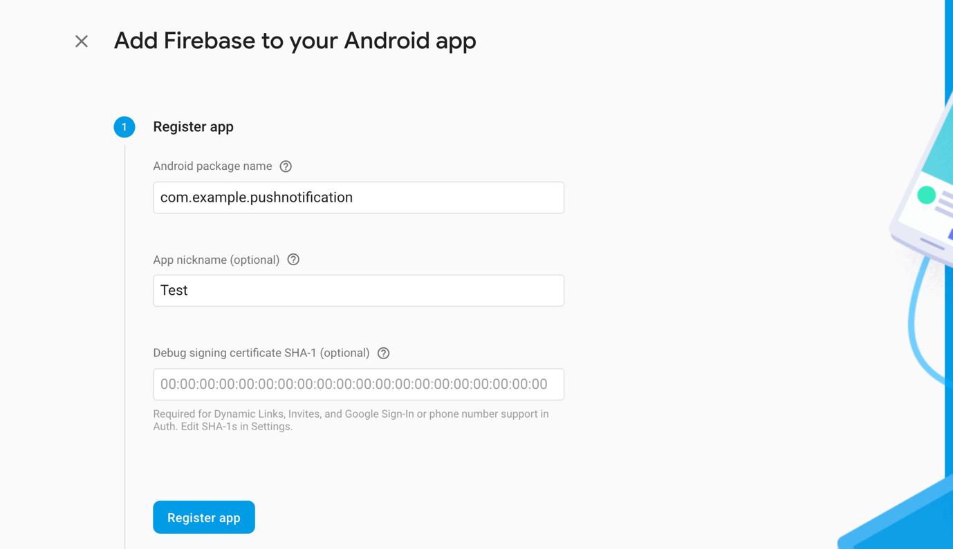 Đăng ký ứng dụng với Firebase