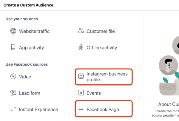 Tạo Instagram and Facebook Engagement Custom Audiences