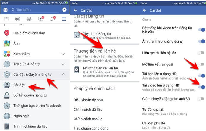 Upload video HD lên facebook