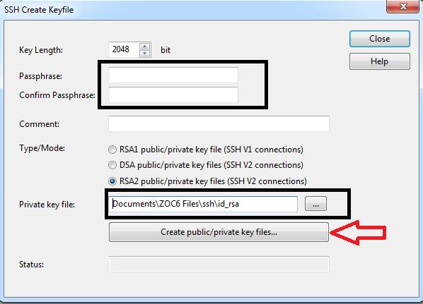 Tạo SSH key bằng ZOC7
