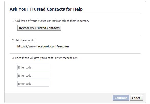 lấy lại mật khẩu facebook từ trusted contact