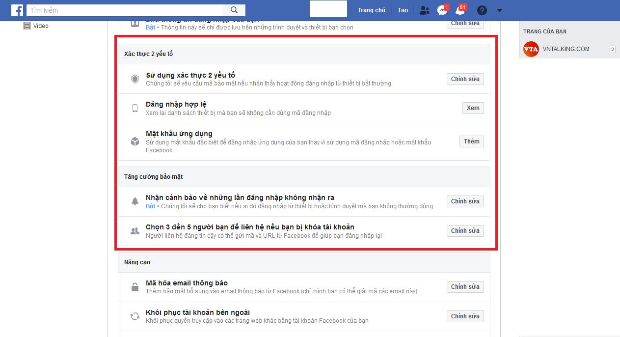 Tính năng xác thực 2 yếu tố của facebook