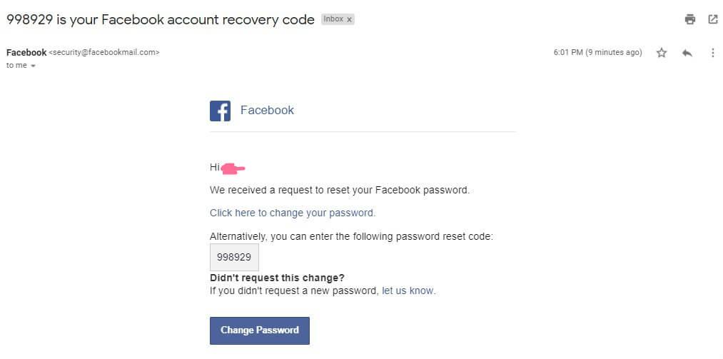 Email để khôi phục tài khoản facebook