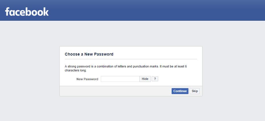 Thay đổi mật khẩu facebook