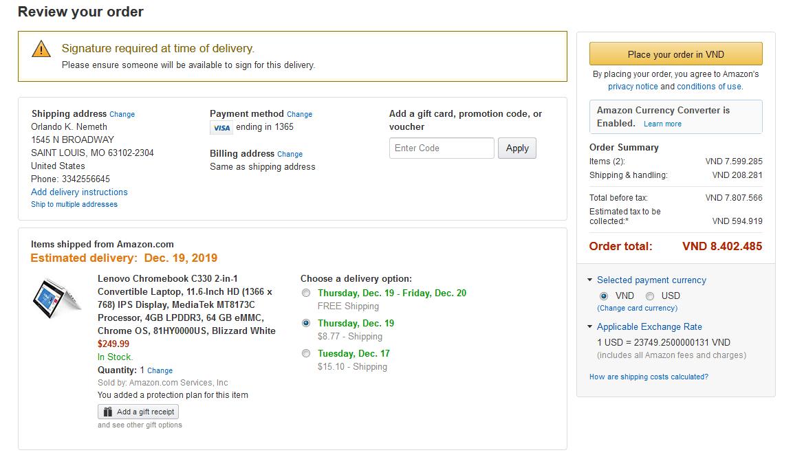 Review đơn hàng trước khi thanh toán