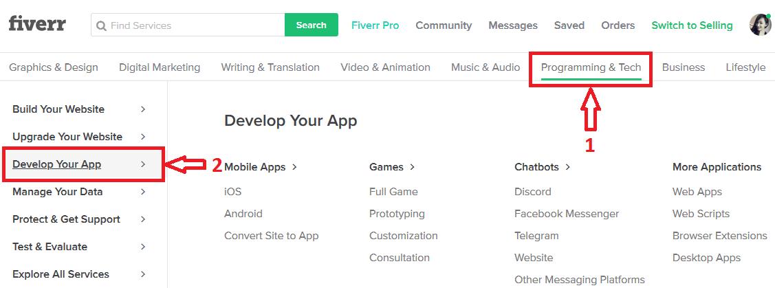 Tìm dịch vụ viết app mobile trên Fiverr
