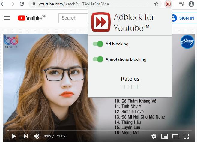 Chặn quảng cáo youtube