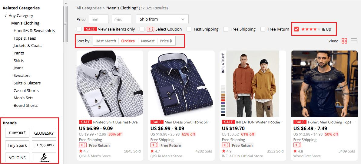 Tìm kiếm và lọc sản phẩm trên AliExpress