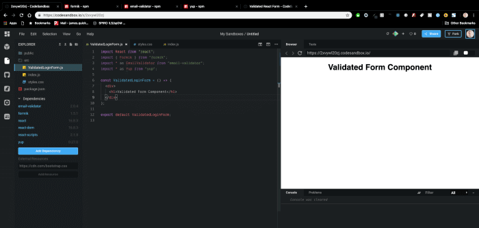 Tạo mới Form validation Reactjs