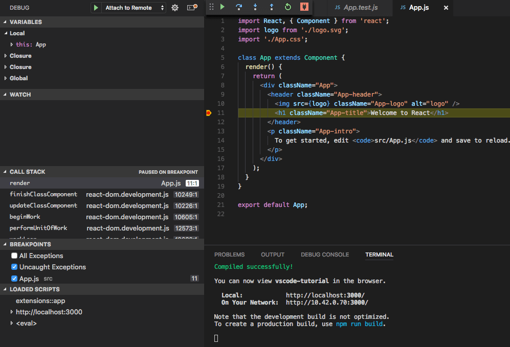 debugging ứng dụng react vscode